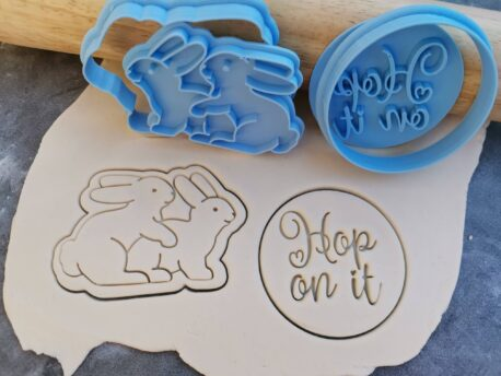 """Adult Bunnies """"Hop on It"""" Cookie Cutter and Fondant Embosser Stamp Set - Easter"""