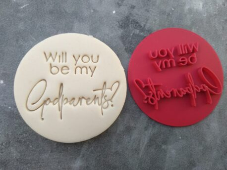 Will you be my Godparents? Cookie Fondant Stamp Embosser and Cutter