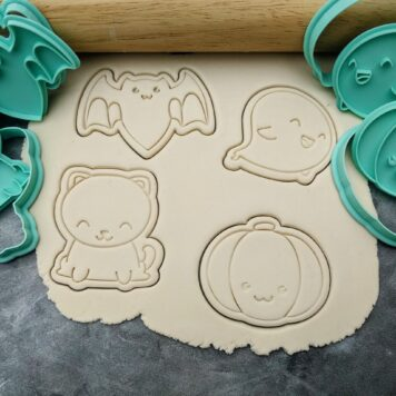 Halloween Set, Bat, Pumpkin, Ghost, Black Cat Cookie Fondant Embosser Imprint Stamp and Cookie Cutters PYO Halloween Cookies