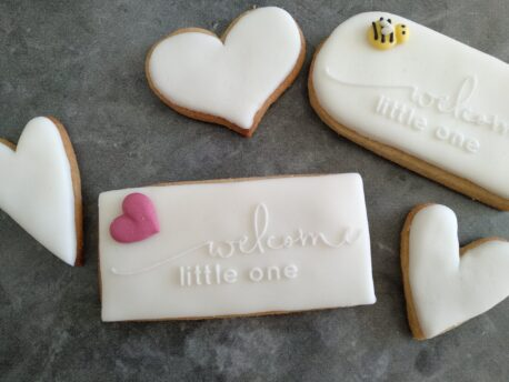 Welcome little one Fondant Stamp with Raised Detail (Optional Cookie Cutter) Baby Shower Cookies / New Baby Cookies Cookie Debosser
