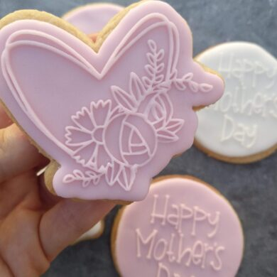 Floral Heart Cookie Cutter and Fondant Raised Detail Embosser Stamp