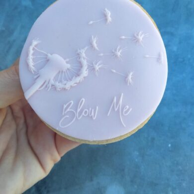 "Dandelion with text ""Blow Me"" Fondant Cookie Stamp with Raised Detail"