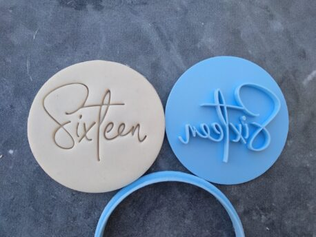 Sixteen 16th Birthday Cookie Fondant Stamp & Cookie Cutter