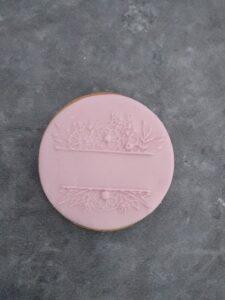 Floral Border Split Monogram Fondant Cookie Stamp with Raised Detail