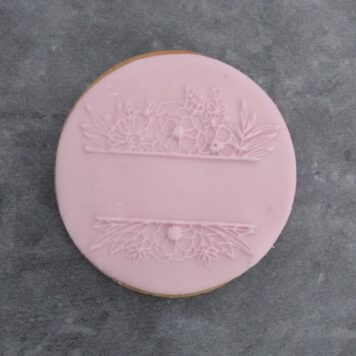 Floral Border Split Monogram Fondant Cookie Stamp with Raised Detail