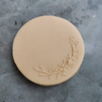 Floral Quarter Wreath Fondant Cookie Stamp with Raised Detail