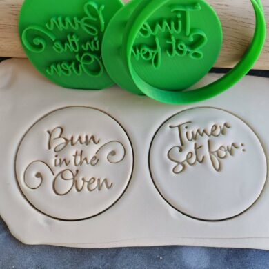 Bun in the Oven / Timer Set for: DIY Baby Shower Cookie Fondant Embosser Stamp and Cutter