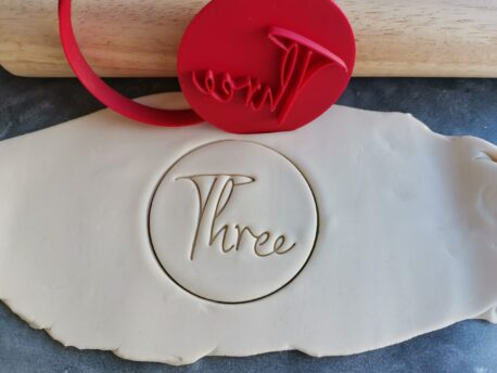 Three 3rd Birthday Cookie Fondant Stamp & Cutter