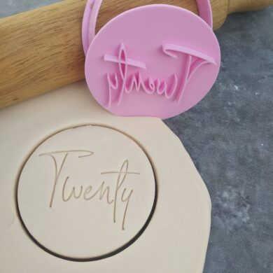 Twenty 20th Birthday Cookie Fondant Stamp & Cutter