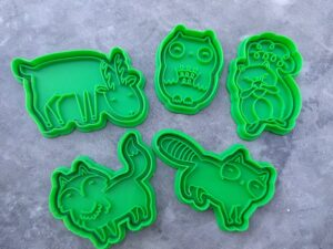 Woodland Forest Animals Set, Fox, Raccoon, Deer, Owl, Squirrel Fondant Embossers Imprint Stamp and Cookie Cutter Set