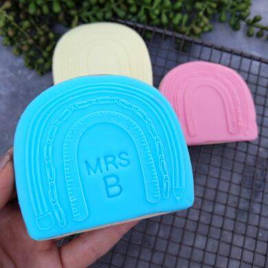 Teacher Boho Rainbow Plaque Cookie Cutter and Fondant Raised Detail Embosser Stamp Teacher Appreciation