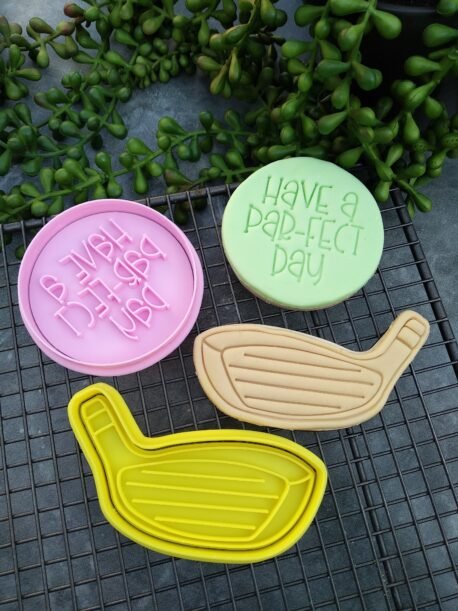 Have a Par-fect Day Golf Club Cookie Cutter and Fondant Embosser Imprint Stamp Father's Day Dad's Birthday Gift