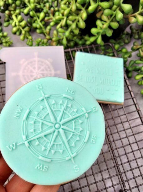 Compass Fondant Cookie Stamp with Raised Detail Fathers Day