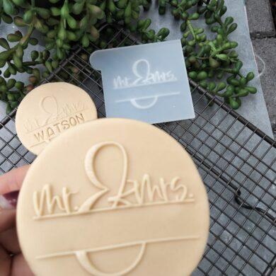 Mr & Mrs DIY Monogram Fondant Cookie Stamp with Raised Detail