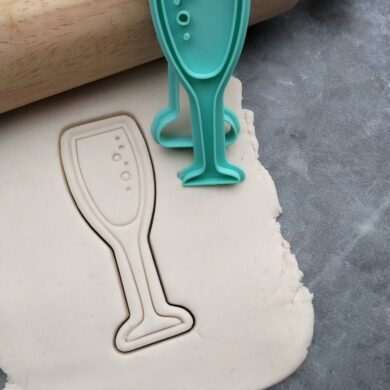 Champagne Flute with bubbles Fondant Embosser Imprint Stamp & Cookie Cutter Champagne Glass Champas