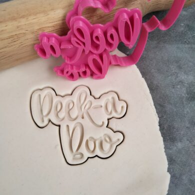 Peek-a-Boo Text Cookie Fondant Embosser Stamp and Cutter Baby Shower Cookie Cutter