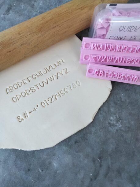 Quirky Alphabet Cookie Fondant Embosser Stamp Set (including 3 of each Letter & Number, 2 Stamp Holders) Font Set