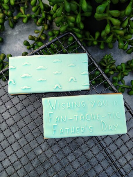 Wishing you a Fan-tache-tic Fathers Day Fondant Cookie Stamp with Raised Detail and Moustache Pattern StampSet