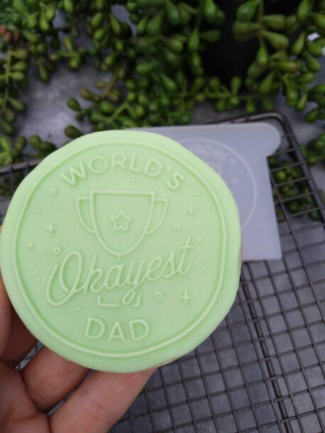 Worlds Okayest Dad Fondant Cookie Stamp with Raised Detail Fathers Day