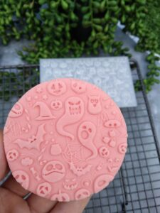 Halloween Spooky Pattern Fondant Cookie Stamp with Raised Detail