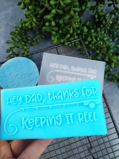 Hey Dad, thanks for keeping it REEL Fondant Stamp with Raised Detail Fathers Day Birthday