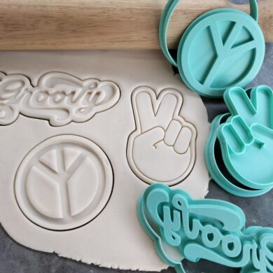 Seventies Hippy Theme Cookie Fondant Embosser Imprint Stamp & Cookie Cutter 3 Piece Set Peace Symbol, Groovy Text, Peace Sign Hand Gesture V Sign 70's Cookies