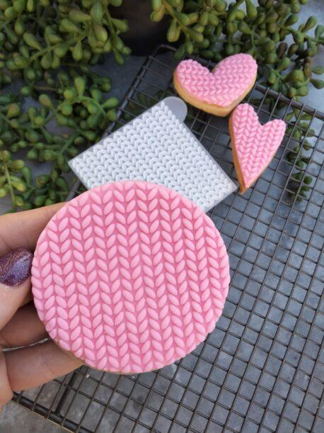 Knit Pattern Fondant Cookie Stamp with Raised Detail Debosser Pop stamp