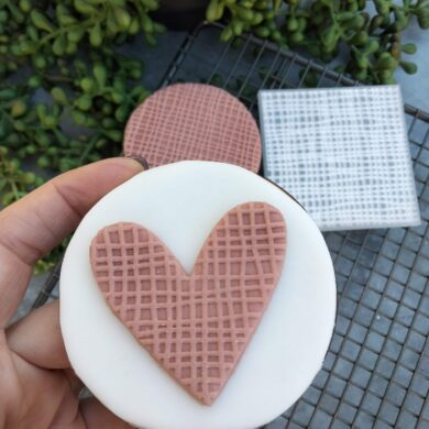 Burlap Linen Fabric Pattern Fondant Cookie Stamp with Raised Detail