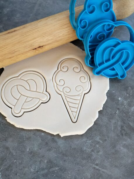 Carnival (Set 2) Pretzel and Fairy Floss / Cotton Candy Cookie Fondant Embosser Stamp & Cutters Set