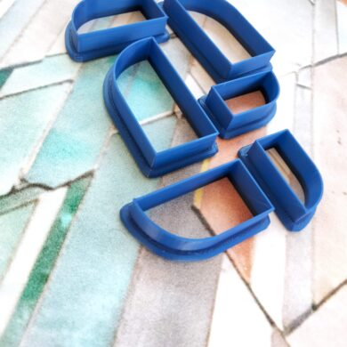 Set of 6 Mirrored Half Arch Polymer Clay Shape Cutter