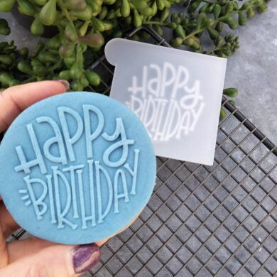 Happy Birthday Round Style Text Fondant Cookie Stamp with Raised Detail
