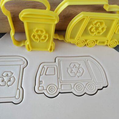 Garbage Truck & Rubbish Bin Cookie Cutter and Fondant Embosser Set Recycling Sulo Bin Recycling Truck Garbage Bin