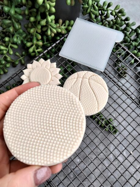 Dimple Pattern Fondant Cookie Stamp with Raised Detail Basketball Flower