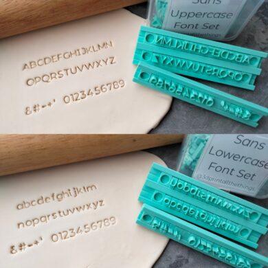 Sans Alphabet Cookie Fondant Embosser Font Stamp Set Modern Font Alphabet Set