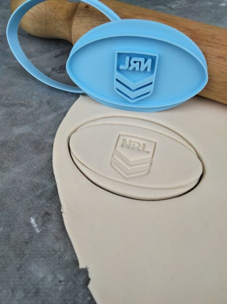 NRL Rugby Ball Cookie Cutter and Fondant Stamp Embosser