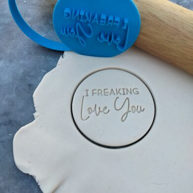 I Freaking Love You Cookie Fondant Embosser Imprint Stamp and Cutter - Valentines Day Birthday