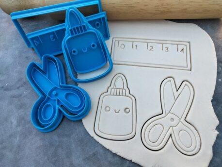 Teacher Appreciation Set, Scissors, Glue Pot. Ruler, 3 Piece Set Cookie Cutter and Fondant Embosser Teacher Gift