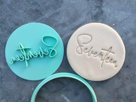 Seventeen 17th Birthday Cookie Fondant Stamp & Cookie Cutter