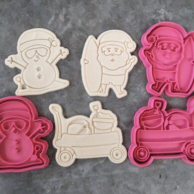 Australian Beach Christmas Set, Santa with surfboard, Snowman with bucket, Beach Trolley/Sleigh Cookie Fondant Embosser Imprint Stamp and Cookie Cutter PYO