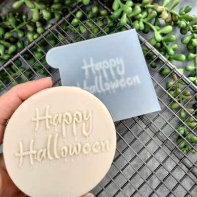 Happy Halloween Fondant Cookie Stamp with Raised Detail