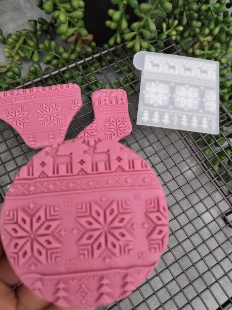 Ugly Christmas Sweater Pattern Fondant Cookie Stamp with Raised Detail