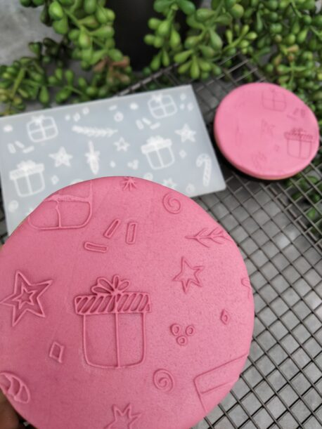 Whimsical Christmas Pattern Fondant Cookie Stamp with Raised Detail